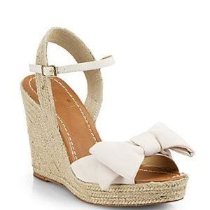 Kate Spade Jane Wedge Espadrilles with Ivory Bow